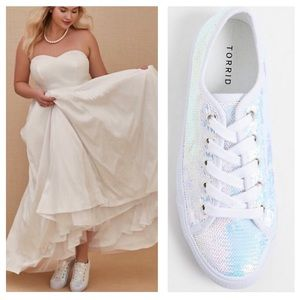 White Iridescence Sequin Sneakers